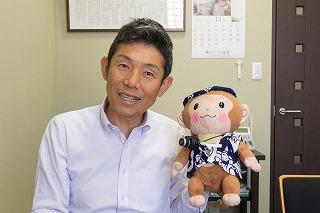 中辻社長とリーモ君の記念写真